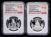 2015年药师琉璃光佛1/2盎司银章、2016年地藏王菩萨1/2盎司银章各一枚(首发版、原盒、带证书、NGC PF70)